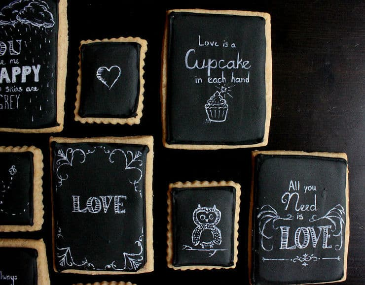 chalkboard love art cookies