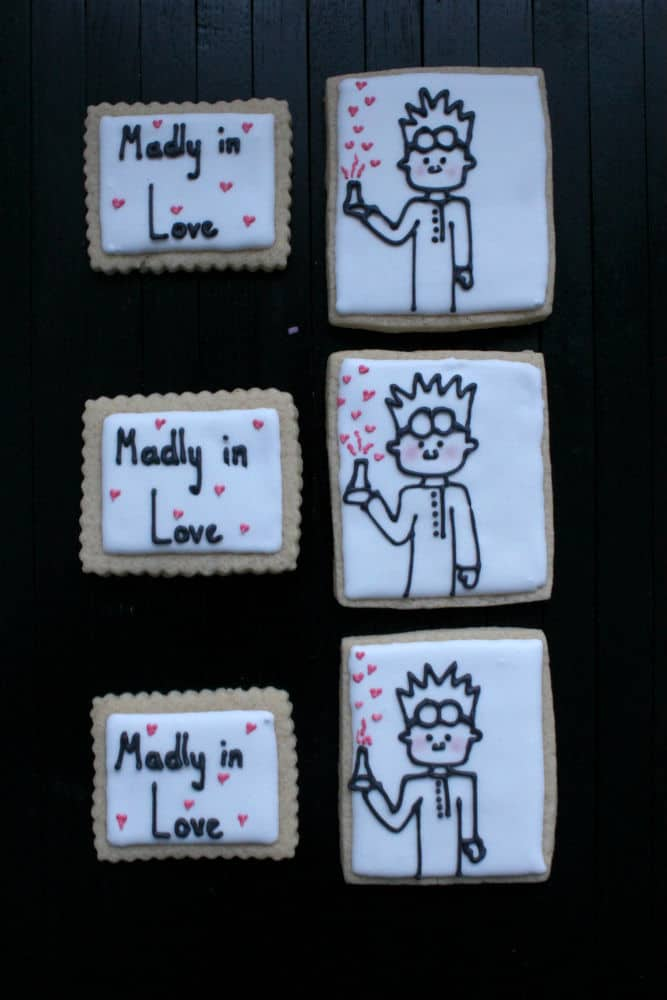 mad scientist valentine cookies