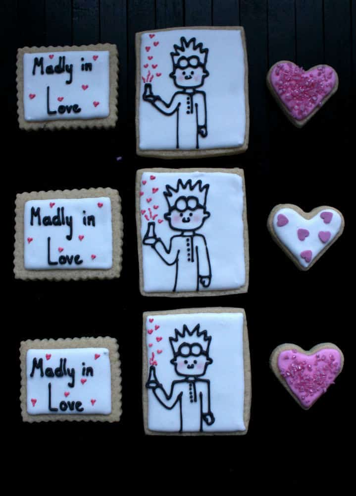 mad scientist valentine cookie