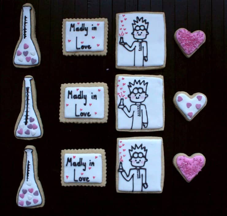 mad scientist valentine's day love cookies