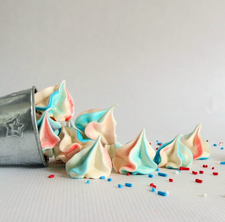 red, white, and blue meringues