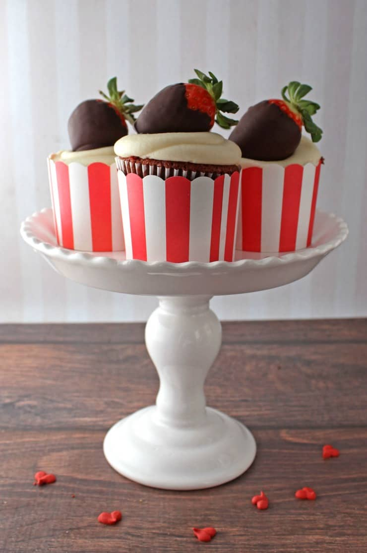 These easy cupcakes combine classic desserts like chocolate covered strawberries and red velvet cupcakes into one delicious dessert!
