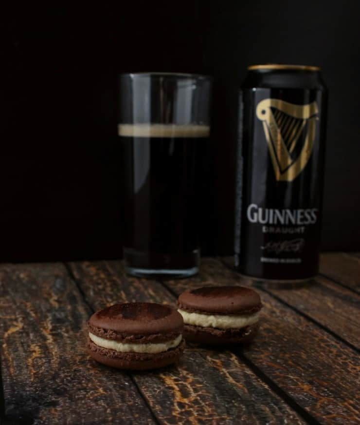 These chocolate Guinness macarons combine chocolate and dark beer flavors for the perfect dark, rich macaron!