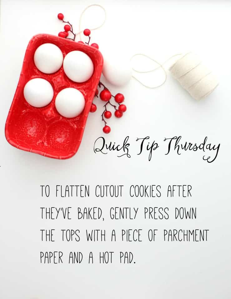 Sometimes the tops of cutout cookies getting a little bubbly during baking, but this easy tip will show you how to flatten them right back down!