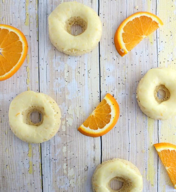 Lemon poppy seed doughnuts with orange glaze