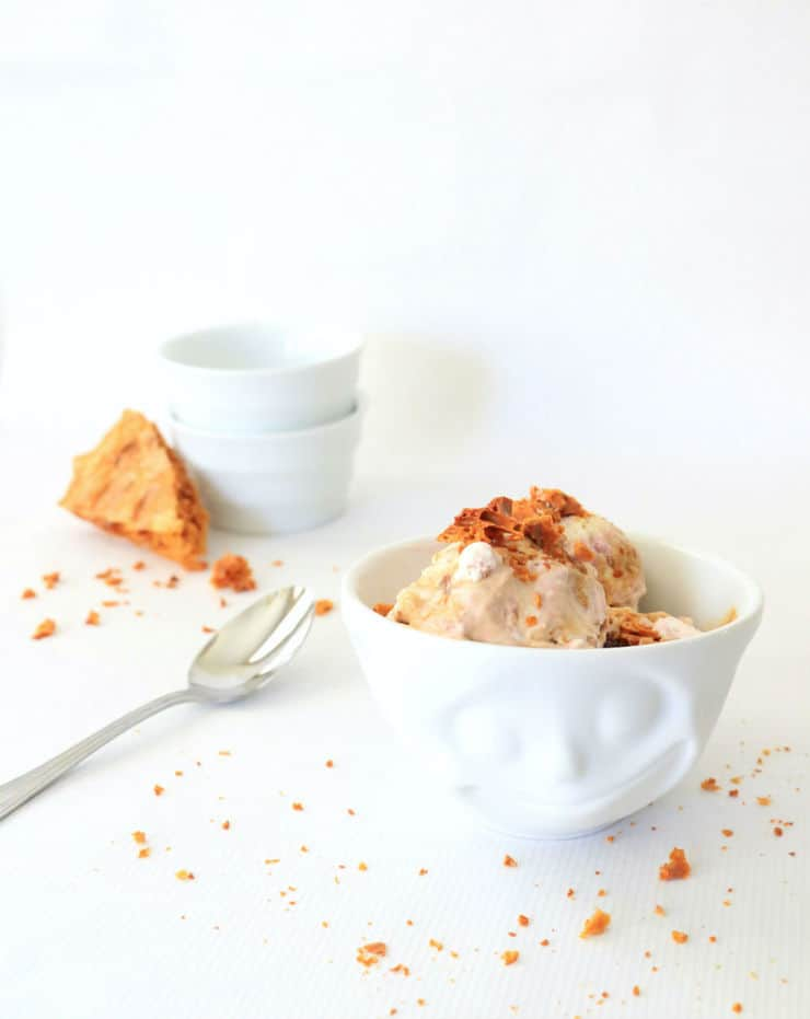 This lavender honeyomb ice cream is so easy to make it doesn't even require a churn! From The Simple, Sweet Life