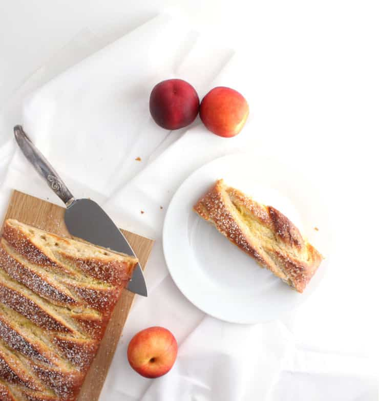 Easy nectarines and cream braided breakfast loaf recipe