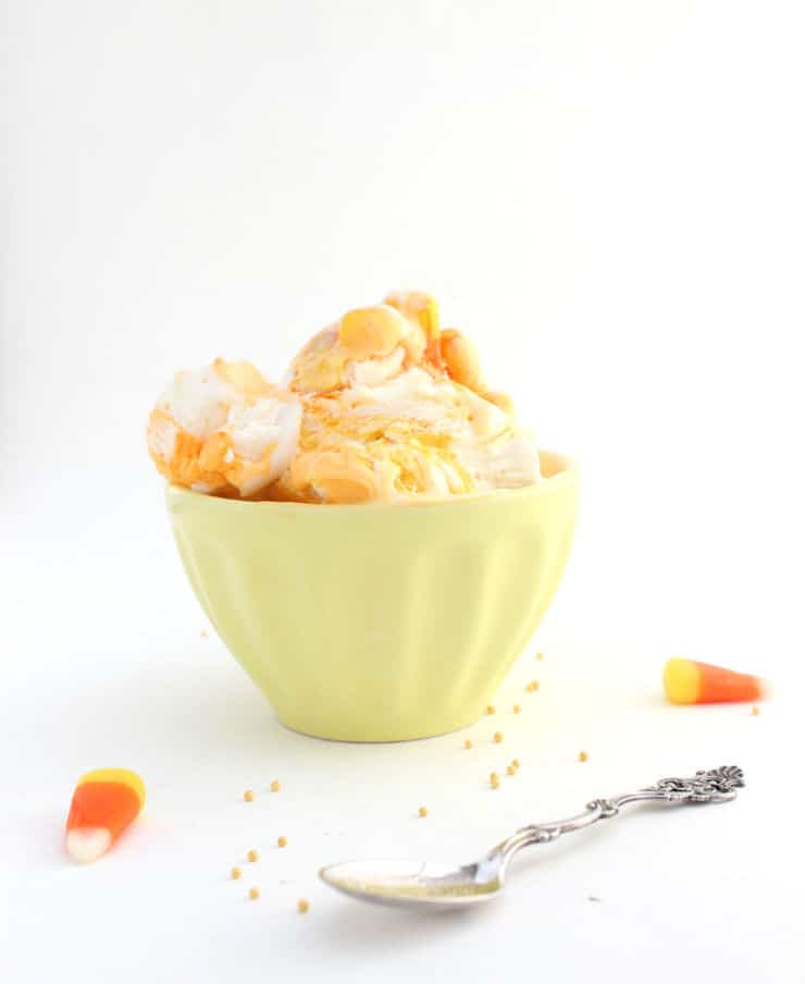 This easy no-churn candy corn ice cream is the perfect cool treat for those warm fall days! | The Simple, Sweet Life