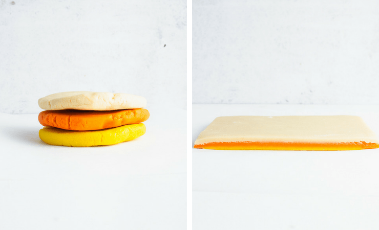 Step-by-step photos for making candy corn cookies