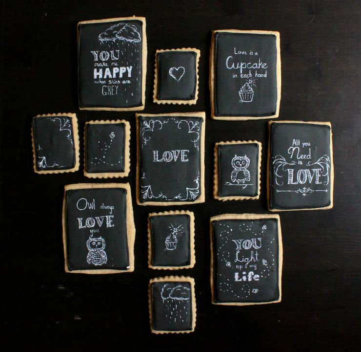chalkboard art love cookies