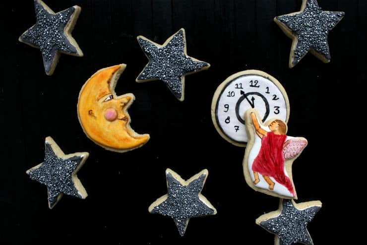 victorian new year painted cookies