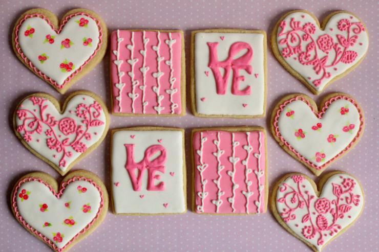 valentine pink love cookies