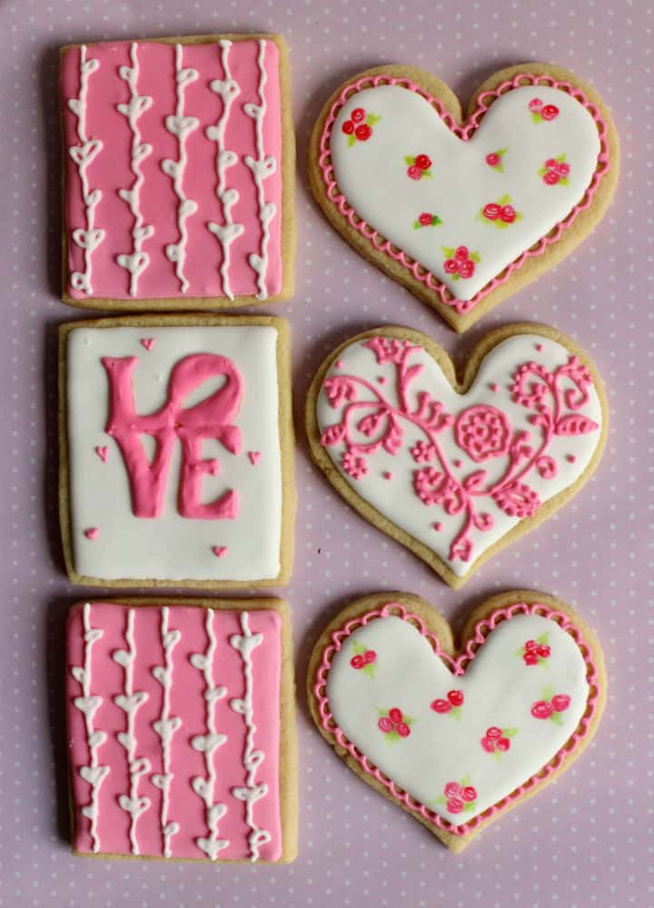 pink valentine cookies