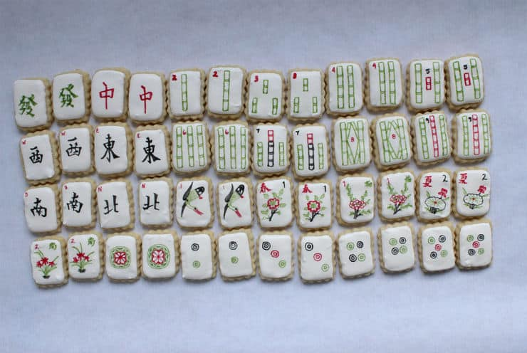 chinese new year mahjong cookies