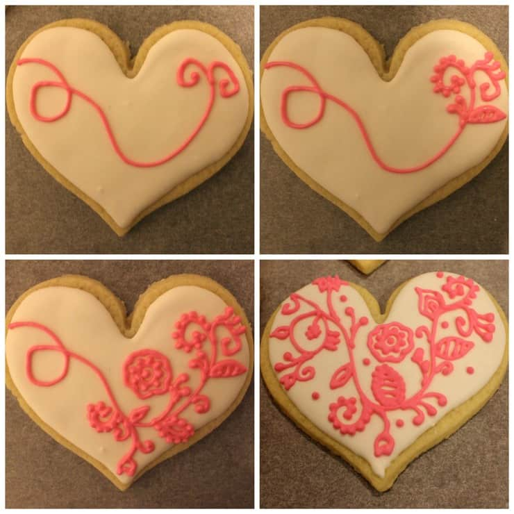 floral heart cookie how to