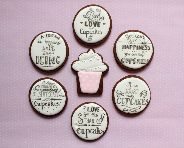 cupcake cookies and lettering