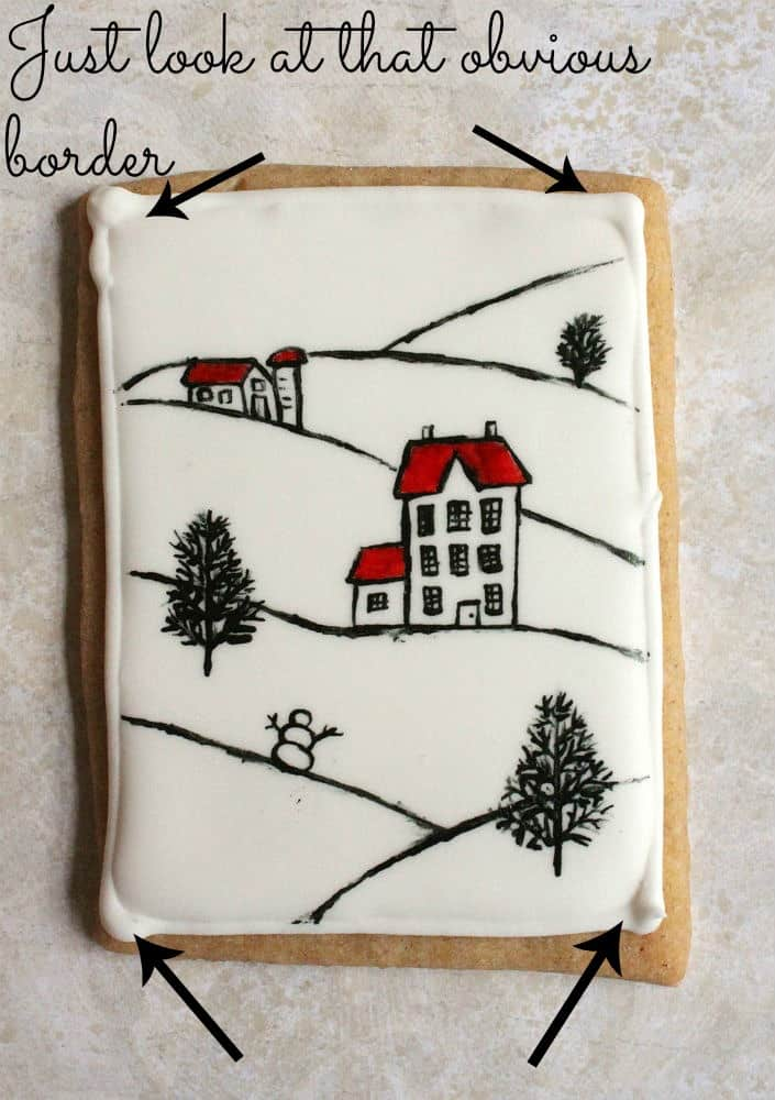 iced cookie with a noticeable border around icing