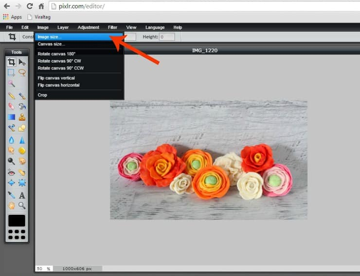 Changing image size in Pixlr