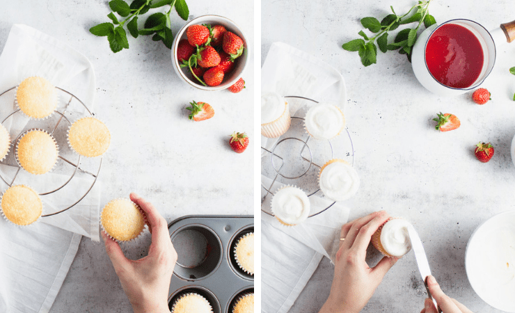 Step-by-step photos for making strawberry shortcake cupcakes