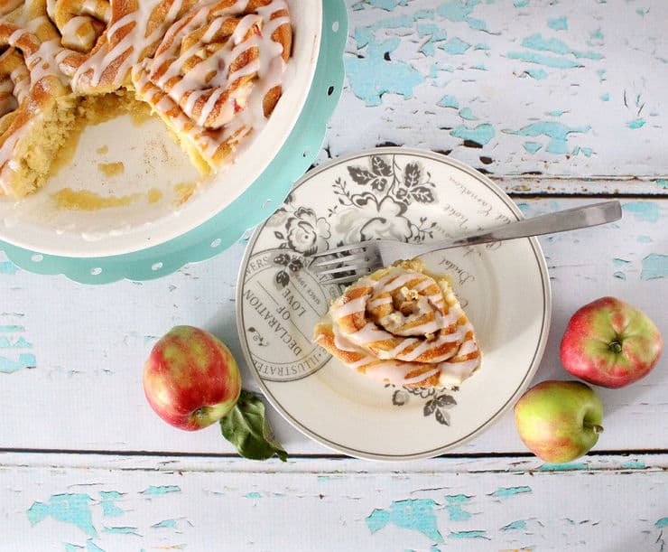 Cinnamon rolls with apple chunks