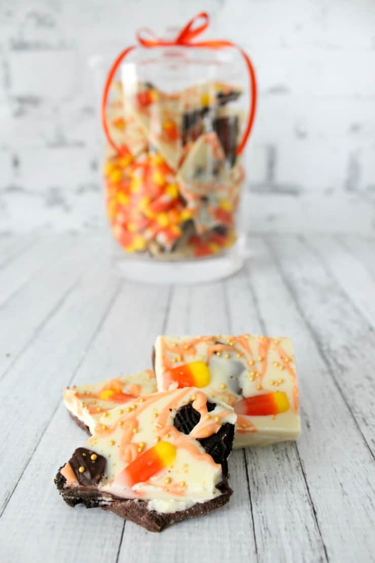 Halloween candy corn oreo bark