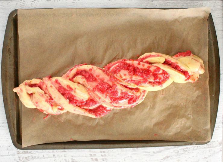 braided raspberry orange loaf