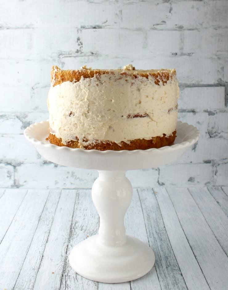 crumb-coated cake