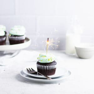 close up of cupcake with a sparkler