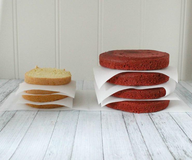 red velvet and sponge cake