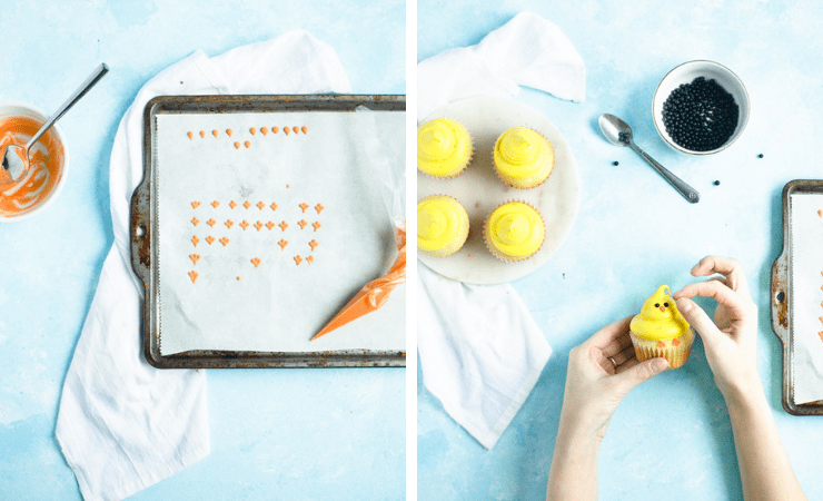 Step-by-step photos for making chick cupcakes