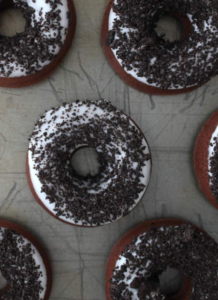 Chocolate cookies and cream doughnuts