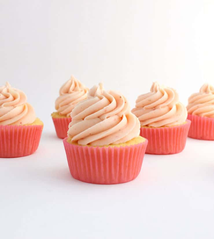Lemon cupcakes with strawberry buttercream