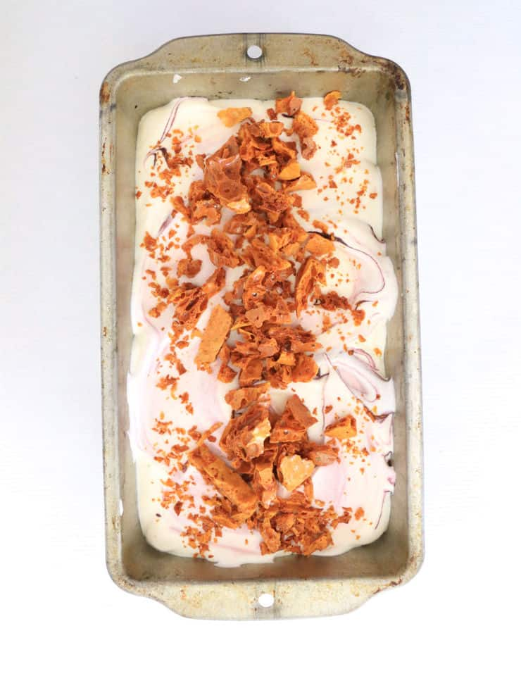 Homemade honeycomb lavender ice cream