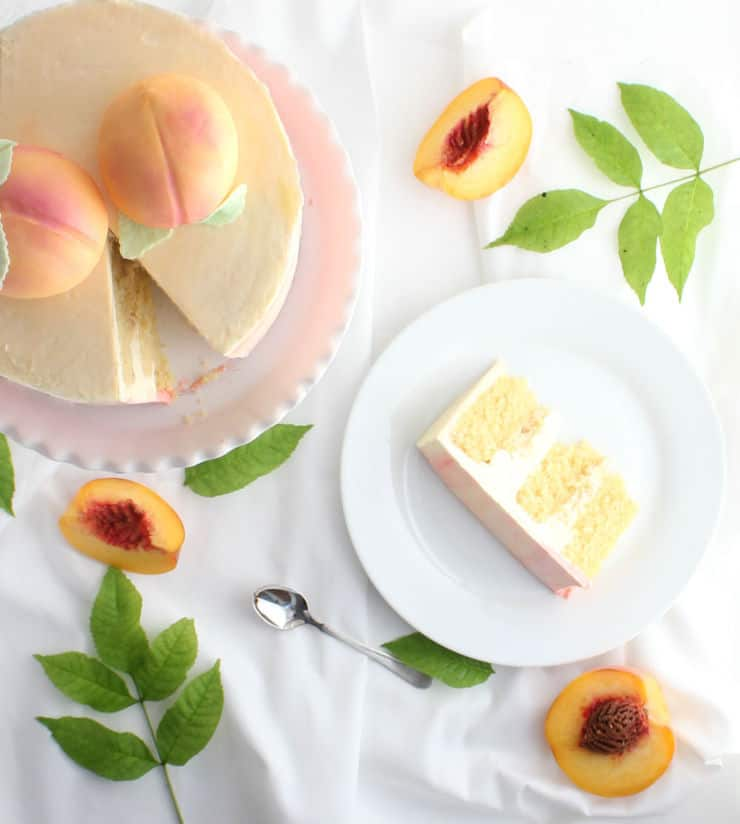 Celebrate those final days of summer with this delicious peaches and cream cake! | The Simple, Sweet Life