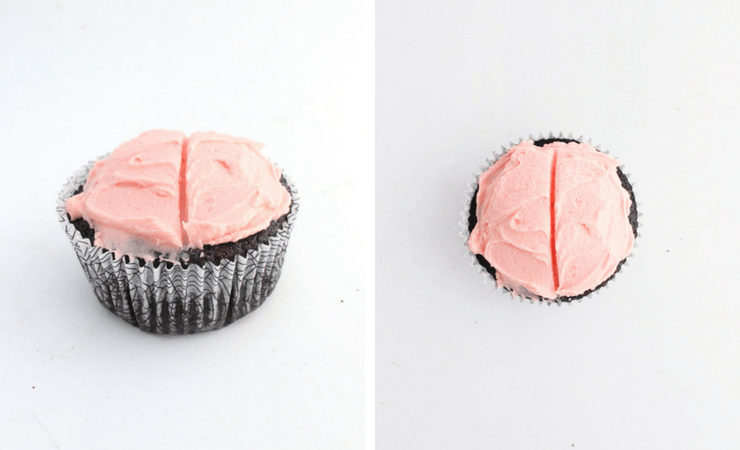 Step-by-step photos for making brain cupcakes