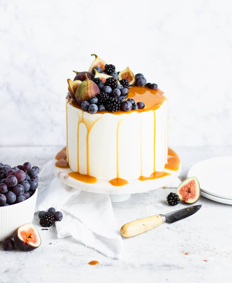 sweet potato cake topped with figs, blackberries and grapes