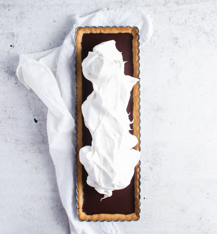 chocolate tart topped with meringue