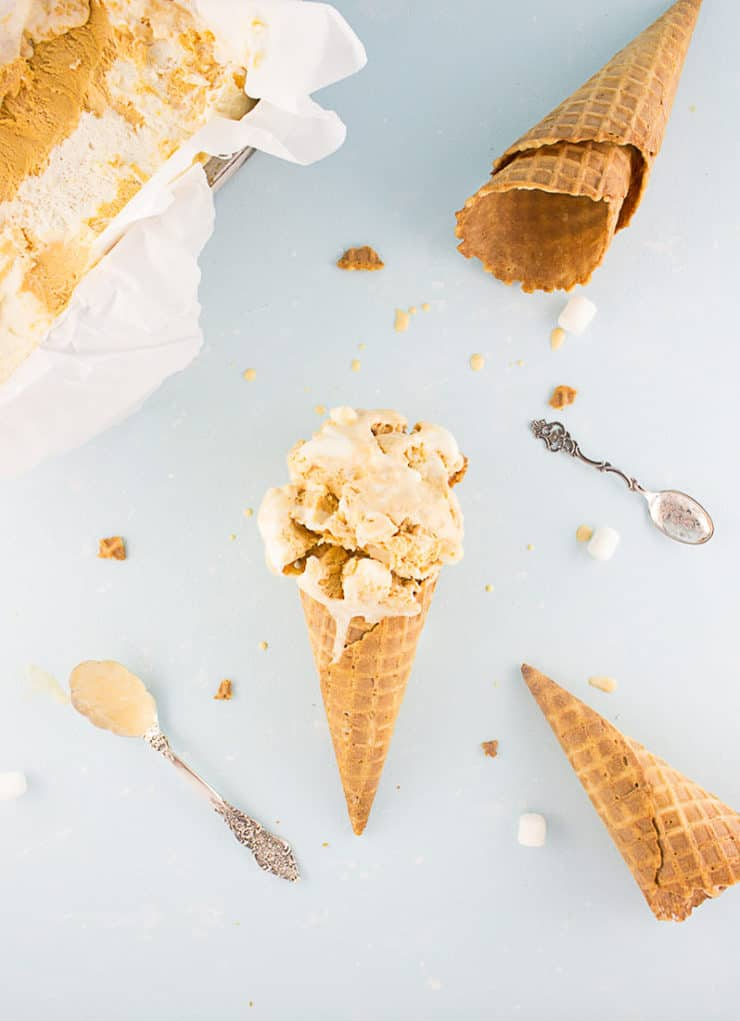 No churn sweet potato swirl ice cream with toasted bits of marshmallow. Fall doesn't get any better than this! From The Simple, Sweet Life