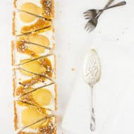 Pear & White Chocolate Cheesecake with Bourbon Butterscotch Sauce