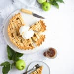 baked apple pie with ice cream on top