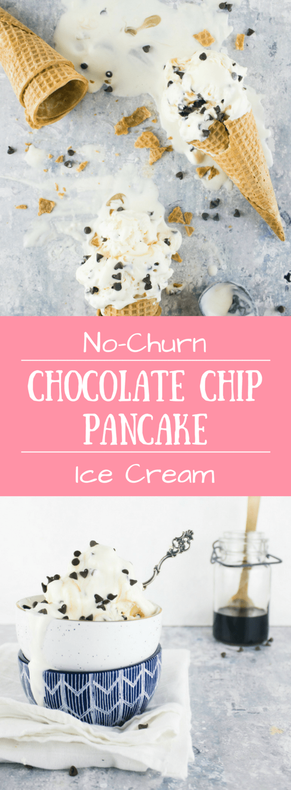 Breakfast for dinner is going to get a run for it's money with this breakfast for dessert inspired no-churn chocolate chip pancake ice cream!