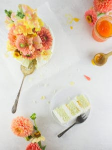 Savor summer to the very last bite with this almond poppy seed and apricot cake + learn how to use fresh flowers on a cake safely