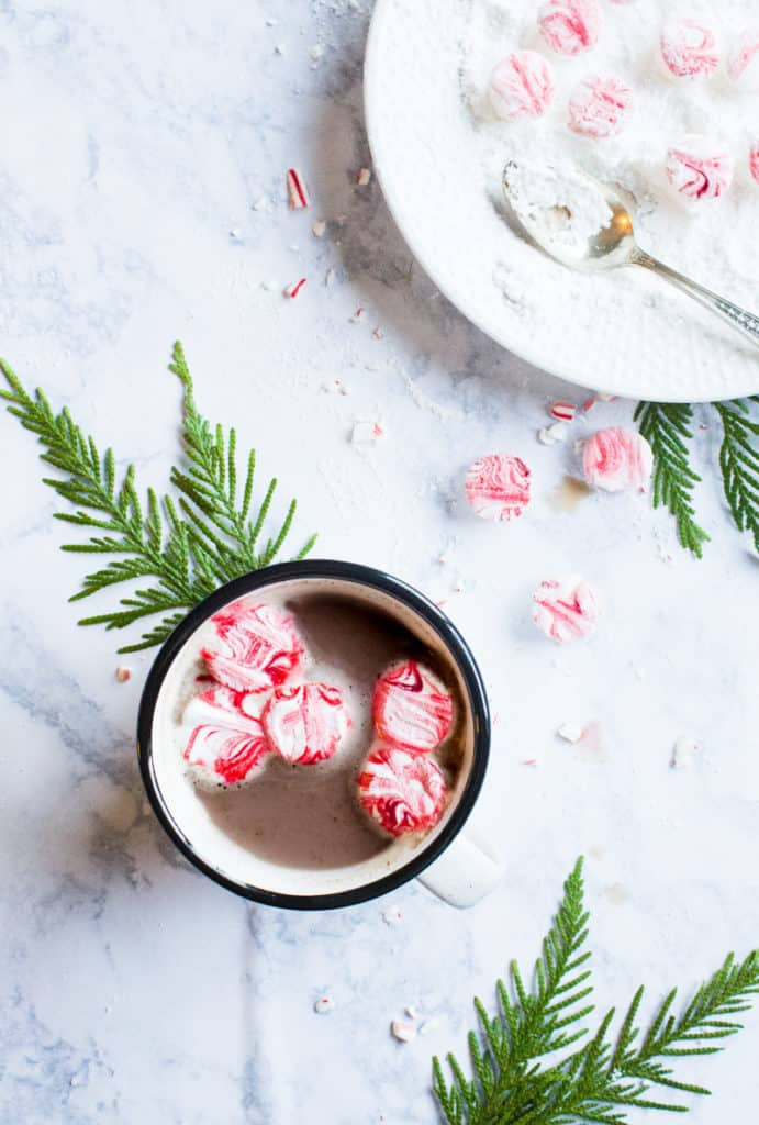 Hot chocolate should be extra - extra chocolaty, extra marshmallow-filled and extra indulgent. Give yourself the gift of indulgence with these easy peppermint marshmallows!