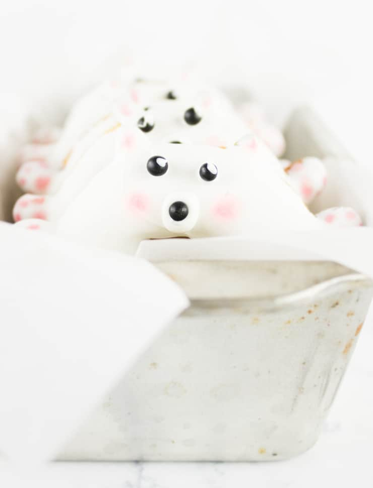 Get your morning off to a sweet start with these adorable polar bear doughnuts!
