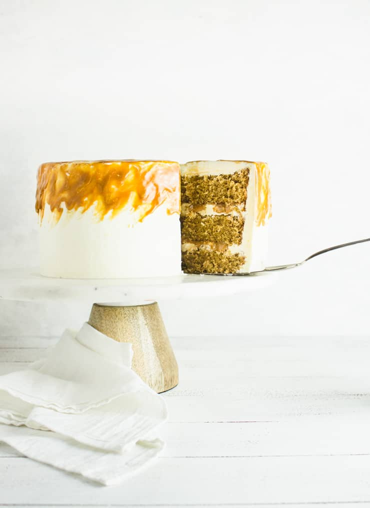 caramel macchiato cake being sliced