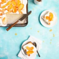 Peaches and Cream Sheet Cake