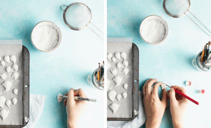 Step-by-step photos for making ghost marshmallows