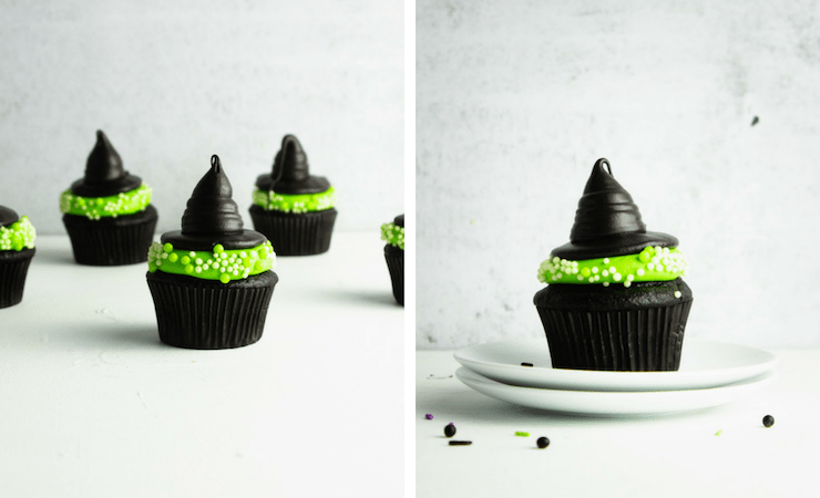 Step-by-step photos for making witch hat cupcakes