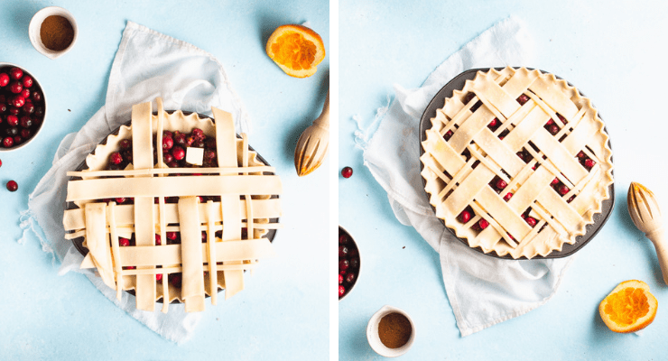 Step-by-step photos for making cranberry orange pie