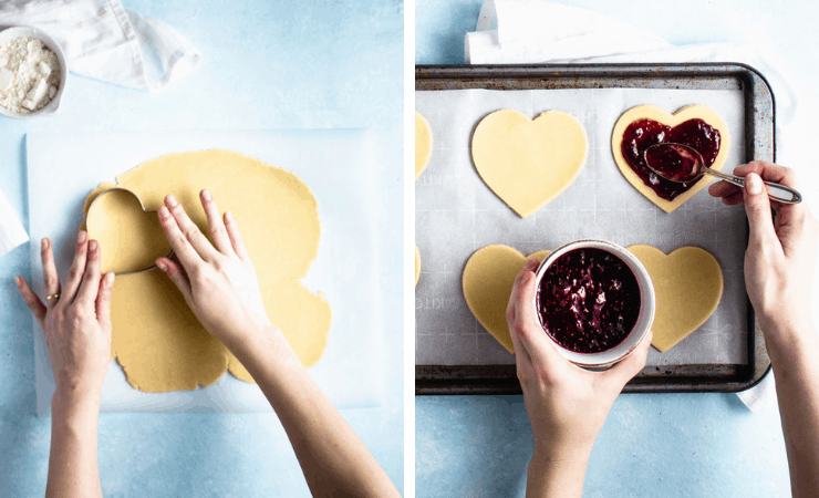 Step-by-step photos for making conversation heart pop tarts